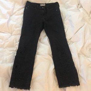 Free People black slightly flared jeans w/ detail